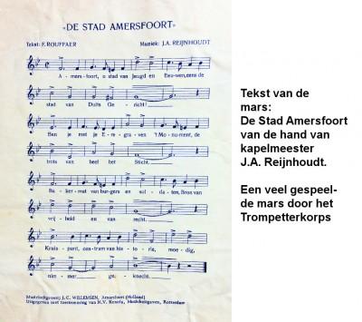 Tekst van de mars De Stad Amersfoort van J. Reijnhoudt. Veel gespeeld-a